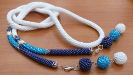 ′Синий иней′ - лариат, украшение из бисера