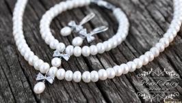 Комплект з натуральних перлів  з цирконами