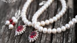 Комплект з натуральних перлів з кристалами
