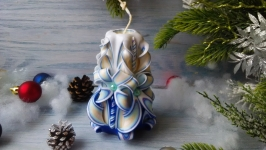 Резная свеча голубая без декора