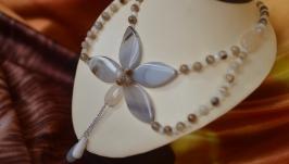 Авторское колье из агатов ′Утренняя орхидея′