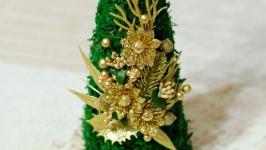 Новогодняя елка-топиарий из мха золотая - подарок на Новый Год