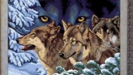 Вишита картина ′Погляд вовка′