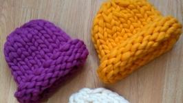 Скидка -50% на шапки из толстой пряжи меринос