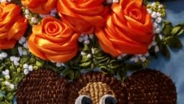 Авторская работа картина вышитая атласными лентами, чебурашка и розы