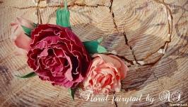 Венок на голову с пионовидными розами