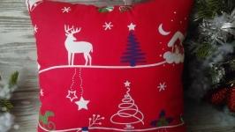 Подушка новогодняя красная ′Домик′ ,  35 см * 35 см