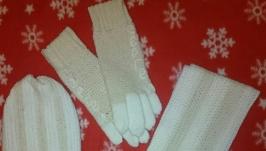 комплект именной шапка,шарф  и перчатки
