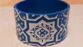 Браслет ручной работы ′Синий орнамент′