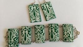 Комплект украшений ′Бело-зеленый′