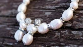 Великі розкішні білі натуральні перли браслет і сережки