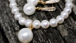 Комплект з натуральних перлів та майорки у позолоті