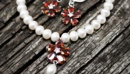 Комплект з натуральних перлів зі браслет і сережки зі срібними застібками