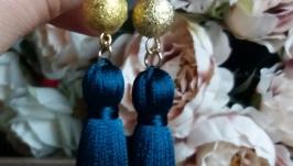 Длинные Синие серьги-кисти