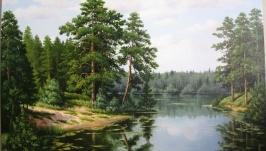 Картина ′Озеро в сосновом бору′