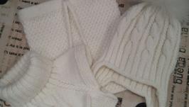 Комплект ′Снежный′ (шапка, снуд, манишка, варежки)