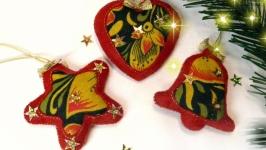 Набор ёлочных игрушек ′Золотая хохлома′