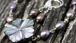 Комплект з натуральних перлів і срібні сережки