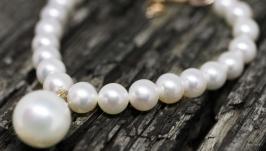 Браслет з натуральних перлів та позолоти