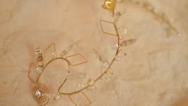 Веточка в прическу с каффом  ′Золотая лиана′