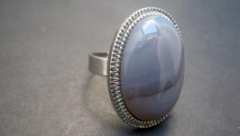 Кольцо с натуральным камнем′Крымский агат′