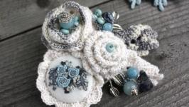 Бохо брошь с камнями зимнее украшение брошь на пальто брошь на свитер