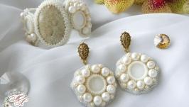 Комплект браслет и серьги ′Ivory cream′