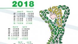 Календарь 2018. Девушка из листьев. Авторская графика.