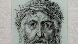 Картина на стекле гравюра Христос