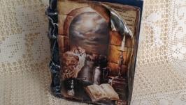 Шкатулка-книга Филин из натурального дерева ручной работы