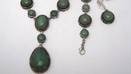 Комплект из натурального камня′Нефрит′