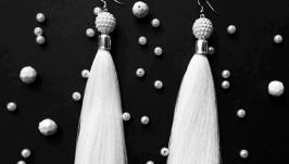 Белые серьги Oscar de la Renta Серьги-кисти Пышные Отличный подарок