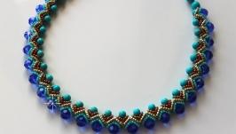 Ожерелье из бирюзы , кристаллов и бисера
