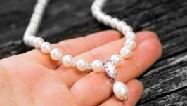 Кольє з натуральних перлів та циркону