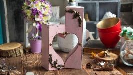 Набор деревянных подсвечников  сердце ′Зефирное настроение′