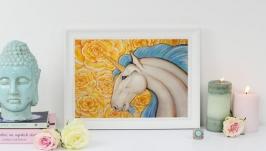 Единорог ′Самран′ картина акварелью  акрил