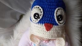 Шапочка для новорожденного ′Пингвинчик′