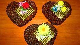 Ароматные кофейные сердечки Валентинки к 14 февраля Handmade