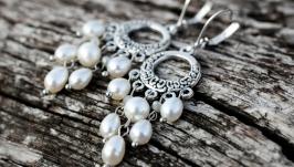 Срібні застібки та натуральні перли сережки Водоспад