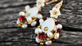 Сережки позолочені  з натуральними перлами і кристалами