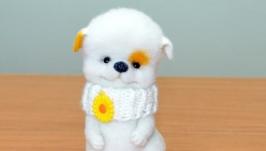 Валяный щенок Цветочек