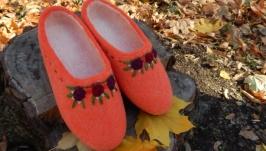 Валяные тапочки ′Оранжевое лето′