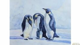 Пингвины пингвин акварель акварельные краски