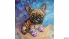 Картина французский бульдог щенок собака