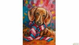 Картина такса с шарфиком собака щенок