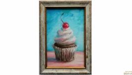картина кекс кексик пирожное с вишенкой вишней