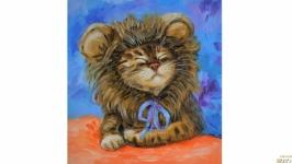 Картина кот в шапке кошка
