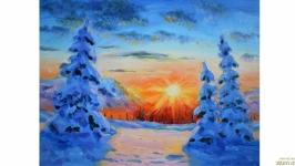 Картина зима зимний пейзаж
