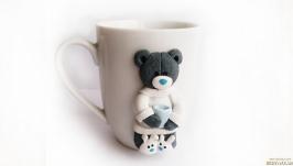 Сувенирная кружка с декором в подарок любимому человеку ′Мишка Тедди′