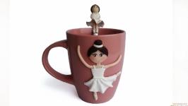 Сувенирная кружка и ложка с декором Подарочный набор Прима балерина